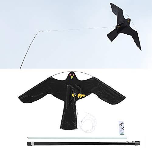 GOTOTOP Vogelscheuche, Schwarz Vogelabwehr mit 6m Glas Stahlstange, Vogelschreck Vogelschutz um eine vogelfreie Zone zu schaffen