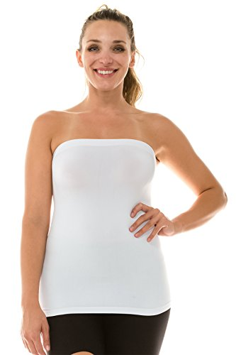 Kurve Women's Strapless Tube Top – Plus Size Long Length Seamless Bandeau Stretch Sexy Cami Tops, UV Protective Fabric UPF 50+ (Made in USA) White