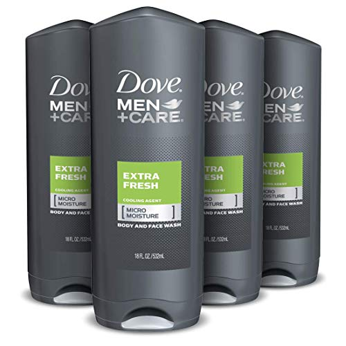 DOVE MEN + CARE Body Wash and Shower Gel, Dermatologist Recommended, Effectively Washes Away Bacteria While Nourishing Your Skin, Extra Fresh, Rosemary, 72 Fl Oz, Pack of 4