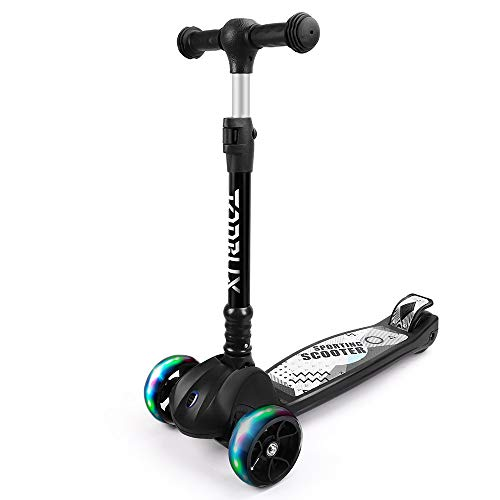 TONBUX Scooter for Kids Toddler Kick Scooter with Foldable Adjustable Height Light Up 3Wheels for Ages 312 Kids Balance Exercise  Black