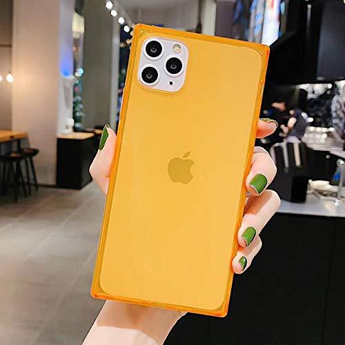 WEIYYY Caja del teléfono para iPhone 12 Mini 12 11 Pro X XR XS MAX 6 6s 7 8 Plus Diseño Cuadrado de Moda Color Caramelo Funda de TPU Suave Transparente, O, para iPhone 11PRO MAX