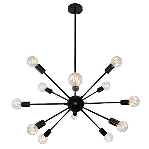 Sputnik Industrial Pendelleuchte, 12 Flammig Kronleuchter, Schwarz E27 Metall Deckenleuchten für Schlafzimmer, Esstisch, Küche, Wohnzimmer, Schlafzimmer [Energieklasse A++]
