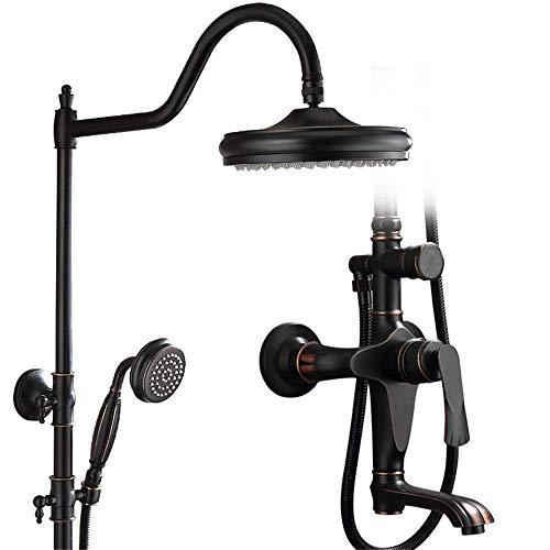 Cabezal de ducha Juego de cabezal de ducha Ducha de bronce negro Baño Grifo retro Ducha de baño caliente y fría Juego de cabezal de ducha negro Juego de ducha (Color: Negro, Tamaño: 160 x 23 x 22)