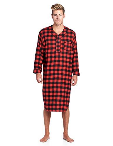 Ashford & Brooks Mens Flannel Plaid Long Sleep Shirt Henley Nightshirt - Red Check - 3X-Large