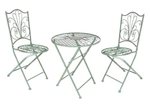 Spetebo Metall Bistroset in antik grün - 2X Gartenstuhl und 1x Gartentisch - Klapptisch und Garten Klappstuhl