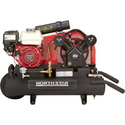 - NorthStar Gas-Powered Air Compressor - Honda GX160 OHV Engine, 8-Gallon Twin Tank, 13.7 CFM @ 90 PSI