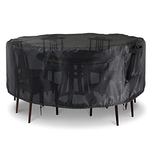 Rilime Patio Furniture Set Cover Round, Waterproof Anti-UV Outdoor Table Chair Set Cover Garden Rattan Table, Sofa, Sectional Cover (60' D x 23' H(152x58cm))
