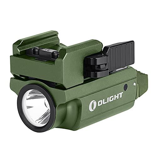 Olight PL-MINI 2 VALKYRIE Torcia per Pistola Torcia Tattica Militare 600 Lumen, Cavo Magnetico di Ricarica Incluso, Distanza di Raggio di 100 Metri, Compatibile per Difesa,Verde