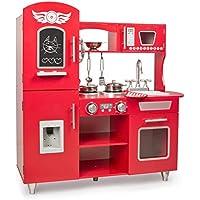 Leomark Big Red Grande Cocina Madera Infantil De Juguete - Color Rojo - Accesorios, para Niños, Cocinita con teléfono, nevera, microondas, utensilios de metal, pizarra, altura: 89 cm