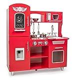 Leomark Big Red Küche mit Telefon, Spielküche aus Holz - ROT - Retroküche für Kinder, Kinderküche mit Zubehör, wunderschönes Design, Magnettafel, Höhe 89 cm + Licht und Soundeffekte