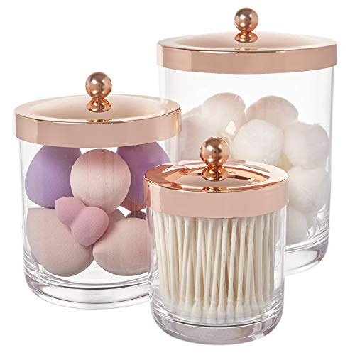 STORi Premium Quality Clear Plastic Apothecary Jars with Rose Gold Lids | Set of 3