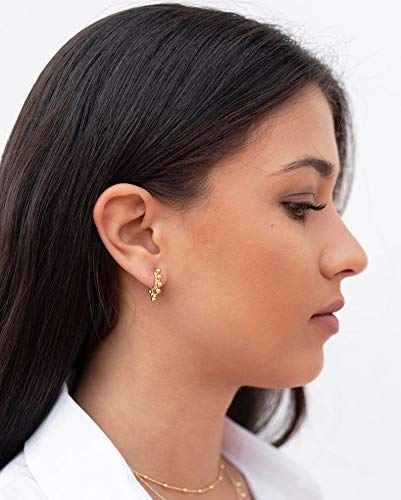 Mevecco Gold Dainty Huggie Hoop Earring,14K Gold Plated Cute Tiny Drop Ball Hoop Earrings for Women (ball)