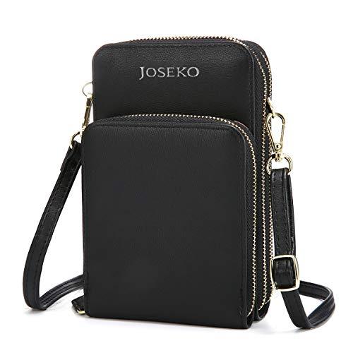 JOSEKO Crossbody Tasche, Damen Handytasche Solide PU Leder Kupplungtasche Kartentasche Frauen Mini Umhängetasche Phone Tasche Mädchen Geldbörse für Arbeit Schule Outdoor Reise (Schwarz)