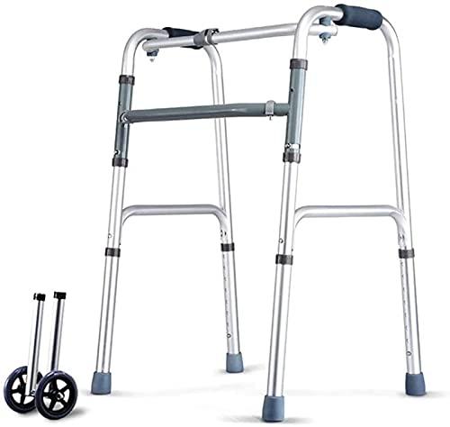 dh-2 Andador con Andador Andador geriátrico Plegable para Ancianos con 2 Ruedas - Altura Ajustable: 75-93cm - Andador con Andador de Transporte Ayuda para la Movilidad Marco para Caminar Muleta
