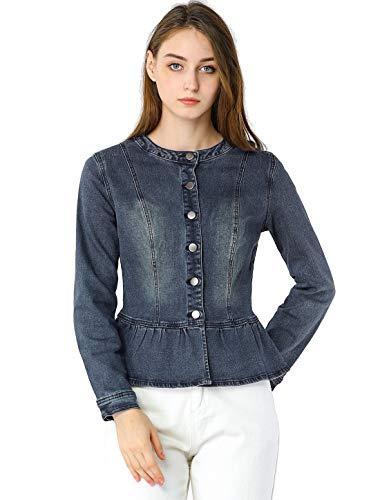 Allegra K Women's Denim Round Neck Button Down Long Sleeve Cropped Ruffle Peplum Jacket Blue 8