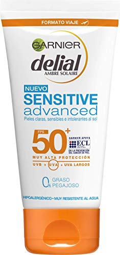 Garnier Delial Sensitive Advanced - Leche Solar para Pieles Claras, Sensibles e Intolerantes al Sol, IP50+ - 50 ml