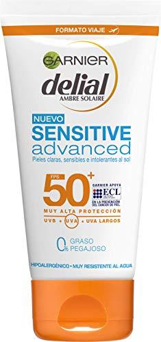 Garnier Delial Sensitive Advanced - Leche Solar para Pieles Claras, Sensibles e Intolerantes al Sol, IP50+ - 50 ml