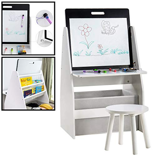 Kleurtafel / knutseltafel / speeltafel / boekenkast voor kinderen - Inclusief krukje - Met opbergruimte voor boeken, knuffels en speelgoed - Multifunctioneel Kinderbureau van hout, in kleur wit - Met accessoires - Decopatent