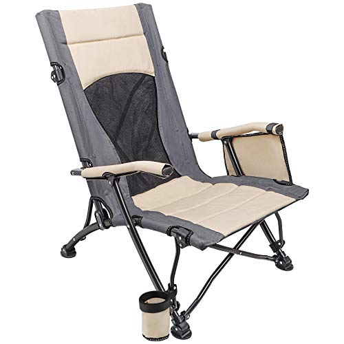 XGEAR X-Large Folding Camping Chair Beach Chair & Heavy Duty Supports 300lbs, for Beach, Lawn, Fishing, Picnic, Outdoor Sports