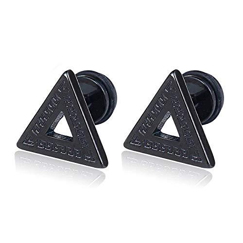 Negro Abierto Triángulo con Modelo Dominante Griego, Pendientes de Hombre, Aretes, Acero Inoxidable, 2 Piezas(-)