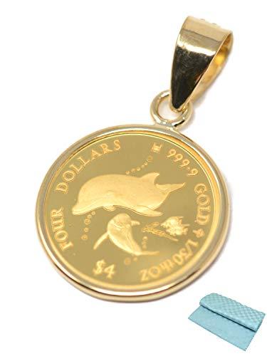 2021年 限定 コイン ペンダント ゴールド 金 ラッセン イルカ ドルフィン 1/30オンス 純金 24金 24k 枠 18金 18K (お磨きクロス付 ギフトセット)