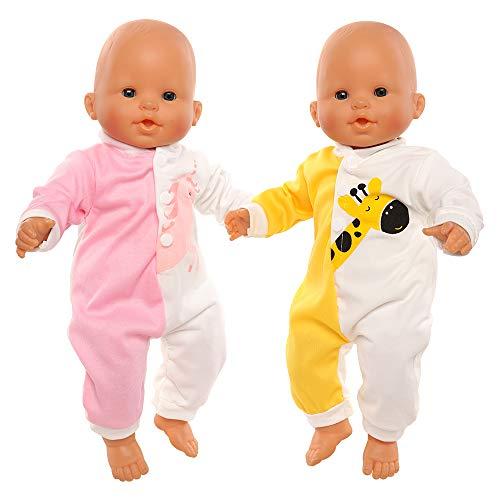 Miunana Kleidung Puppenkleidung für Baby Puppen, Outfit Strampler für Puppen 35-40 cm, 2-er Pack (Einhorn & Giraffe)