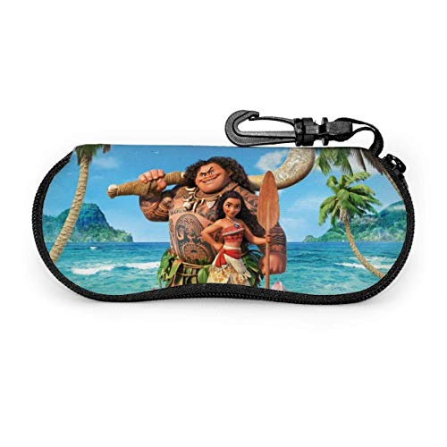 Eyeglass Case Cartoon Moana Sunglasses Case Ultra Soft Light Neoprene Zipper Eyeglass Case with Belt Clip