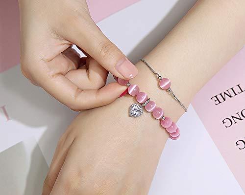 Pulsera de ojo de tigre, doble cadena que puede extenderse, joyería para niñas, novias, romántica, regalo de cumpleaños, color blanco, rosa, 123, rosa, Size