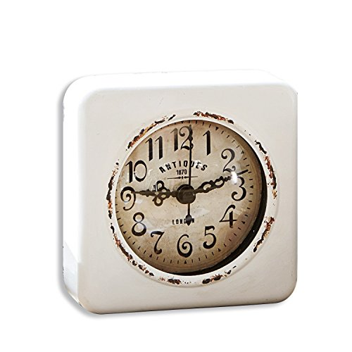 Loberon Uhr Gervase, Eisen, H/B/T ca. 10,5/10,5/3,5 cm, antikweiß