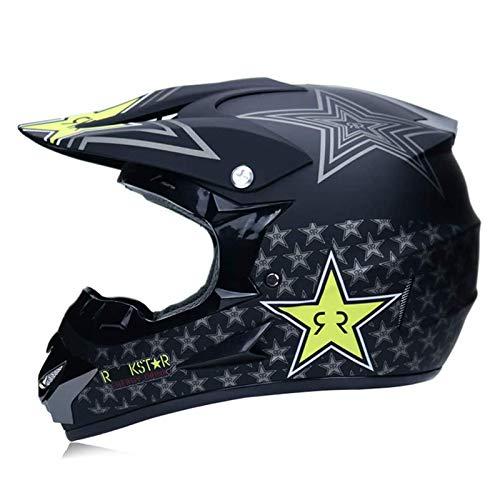 qwert Casco de Motocross para Motocicleta, Casco Completo de MTB para Adultos, con Gafas/Guantes, para Descenso, Todoterreno Quad Protección, Aprobado Dot (S/M/L/XL)