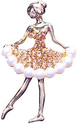 Academyus Ladies Rhinestone Faux Pearl Inlaid Dance Girl Brooch Pin Cardigan Accessories