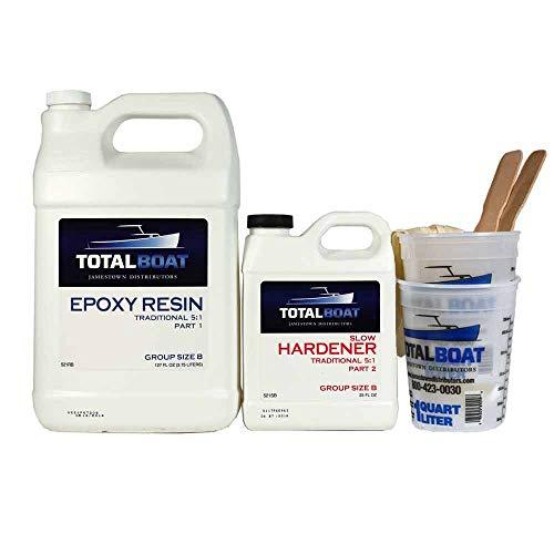 TotalBoat 5:1 Epoxy Resin Kit (Gallon, Slow Hardener), Marine Grade Epoxy for Fiberglass and Wood Boat Building and Repair