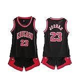 Material: Poliéster Niño NBA Michael Jordan # 23 Chicago Bulls Retro Pantalones Cortos de Baloncesto Camisetas de Verano Uniformes y Adulto Tops de Baloncesto (Negro,XL/Altura 150-160cm)