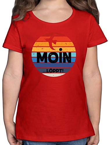 Sprüche Kind - Moin Löppt - 152 (12/13 Jahre) - Rot - Rundhals - F131K - Mädchen Kinder T-Shirt