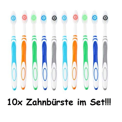 1a-becker 10er Pack Zahnbürsten Mittel Zahnpflege Zähne Reise Hand Zahnbürste bunt im Set
