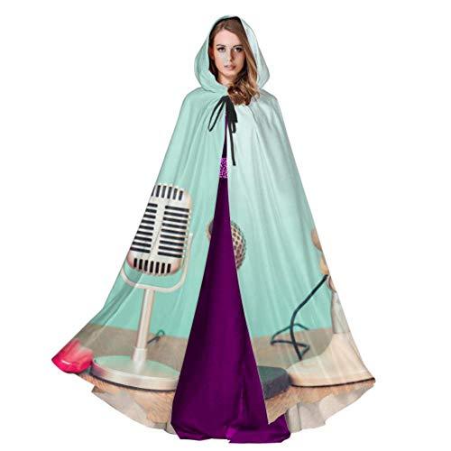 Yushg Altmodische Grammophon Plattenspieler Mantel Kapuze Für Männer Erwachsene Mantel Kostüm 59 Zoll Für Weihnachten Halloween Cosplay Kostüme