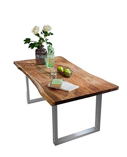 SAM Esszimmertisch mit Baumkante, massives Akazienholz, Nussbaumfarben / silbernes Gestell, 160 x 85 x 77 cm