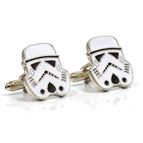 Schwarz und Weiß Storm Troopers Manschettenknöpfe - Star Wars Neuheit Shirt Zubehör für Männer mit Manschettenknöpfe Box