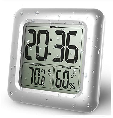 TXWS Wecker-Temperatur-Feuchtigkeits-Maß beständig mit Sauger-Digital-Duschuhr-Badezimmer-Küche