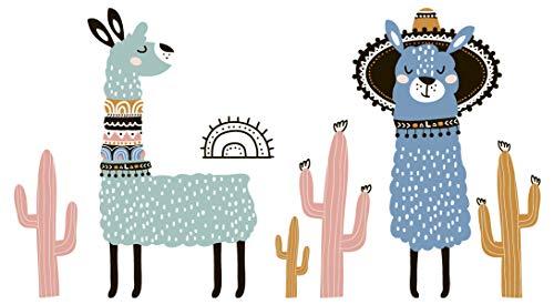 dekodino® Wandtattoo Tiere Alpakas mit Muster bunt Kinderzimmer Deko