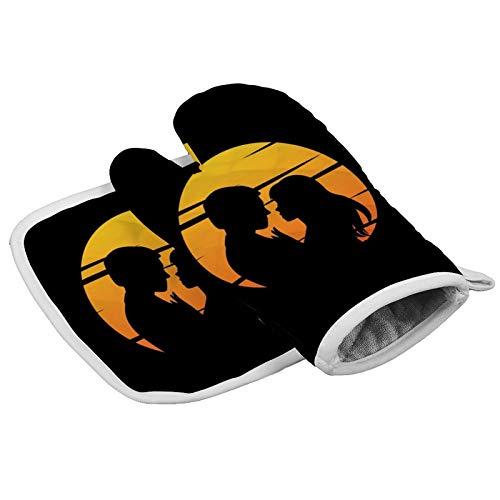 MayBlosom Manopla de horno par con puesta de sol guantes de horno de cocina y soportes para ollas, juego resistente al calor, mitón de horno de microondas para barbacoa, cocinar y asar a la parrilla