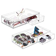 mDesign Plastic Rectangular Portable Stackable Eye Glass Organizer, Sunglass Storage Case; Hard Protective Bin for Reading Glasses, Eye Wear, Accessories - 6 Sections, Hinged Lid, 2 Pack - Clear