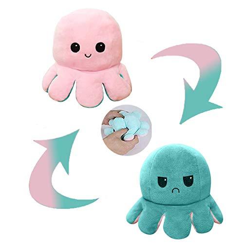 CJRNBU Polipo Reversibile Peluche, Peluche a Doppia Faccia con Vibrazione Polpo, Simpatico Octopus Peluche Giocattolo Creativo Regali per Bambini/Ragazze/Ragazzi/Amanti