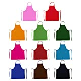 TrendBox Total 11 PCS Plain Color (Medium Size) Bib Apron Adult Women Unisex for Waist size 30' to 42' Durable Comfortable with Front Pocket Washable For Cooking Baking Kitchen Restaurant crafting