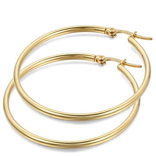 JewelryWe Pendientes de Aros Grande Circulos Huggies, Acero Inoxidable Pendientes de Mujer Dorados, Retro Vintage Pendientes Grandes Diseño Elegante 34mm
