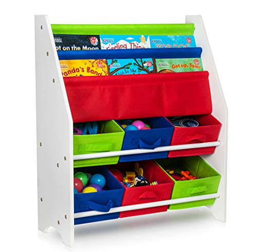 Fineway. Childrens Colourful 6 Toy Container Boxes with 3 Tier Sling Book Storage Organiser Book Rack Shelf Shelves Unit (Multi)