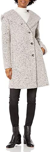 Cole Haan Women s Signature Dropped Shoulder Front Button Coat White Grey 2 product image