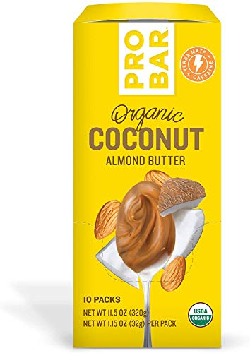 PROBAR - Nut Butters, Coconut Almond Butter Plus Caffeine, Non-GMO, Gluten-Free, USDA Certified Organic, Healthy, Plant-Based Whole Food Ingredients, Natural Energy (10 Count)