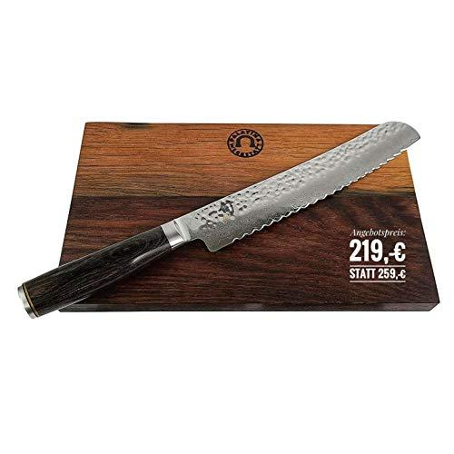 KAI Shun Premier Tim Mälzer Geschenkset | TDM-1705, ultrascharfes japanisches Messer/Brotmesser aus Damaststahl | + großes und robustes Fassholzbrett 30x18 cm | VK: 259,-