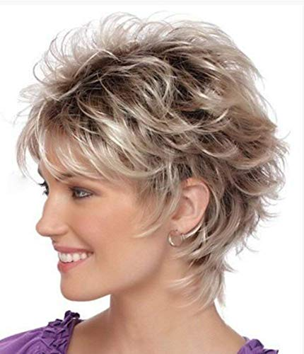 Wigs for White Women Short Hair Curly Brown Mixed Gray Female Synthetic Wig Natural Looking Wigs P055